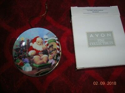 "AVON 2¾"" Miniature 2001 CHRISTMAS PLATE ORNAMENT 'A Visit with Santa' Boxed"