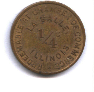 ILLINOIS 1/4 CENT TAX PROVISIONAL TOKEN (LA SALLE) * 500 to 2000 KNOWN * NICE