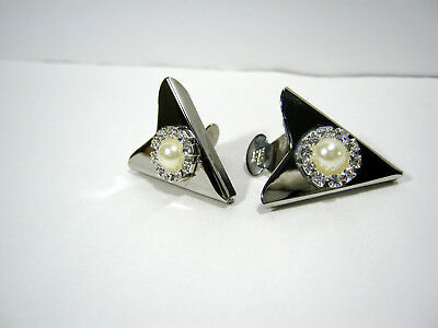 Vintage Silver Tone Collar Tips With Faux Pearl And Rhinestones Usa Made