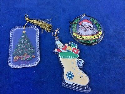 Stained Glass Stocking Santa Claus Christmas Tree ANTIQUE Hallmark ORNAMENT LOT