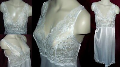 SZ L/XL 42 Marks & Spencer WHITE NYLON Cami Style FRILLY LACE Slip NIGHTIE UK