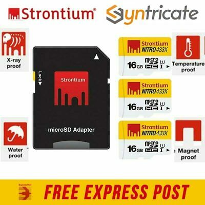 Strontium 16Gb Micro Sd Nitro Uhs-1 With Sd Adapter - 3 Micro Sd Card Pack