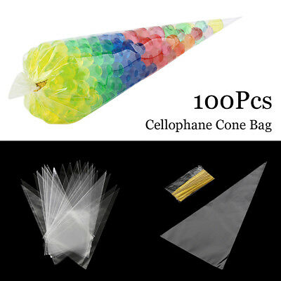100 X Large Clear Cellophane Cone Bags Kids Party Plastic Cello Sweet Candy Bag
