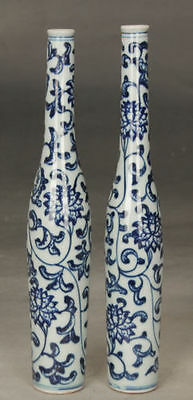 One pair Fine Beautiful Chinese Blue and white porcelain vase painting flowersNR