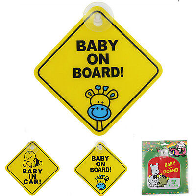 2X Car Baby Warning Safety Suction Sticker Baby on Board Baby in Auto Cartoon GT