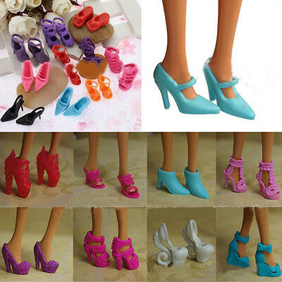 10 pairs For Barbie Doll Toys Princess Dress Clothes High Heel Sandals Shoes AU