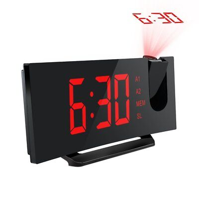 """Digital LED Projector Projection FM Radio Snooze Alarm Clock 5"""" Large Screen Red"""