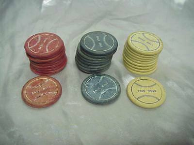 Antique 30 Clay Poker Chips Baseball Red White Blue
