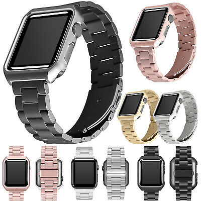 Apple Watch Series 3 2 1 Wrist iWatch Band Strap + Stainless Steel Case Cover
