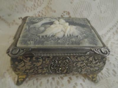 Vtg~Antq Ornate Ormolu w/Faux Incolay Hinged Lid Victorian Couple Ftd.Vanity Box