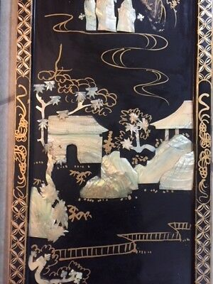 Vintage BLACK LACQUER MOTHER-OF-PEARL JAPANESE WALL PANELS