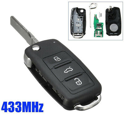 1Pc 3 Button Folding Flip Remote Key 433MHz ID48 Chip For VW 2010-UP 5K0837202AD