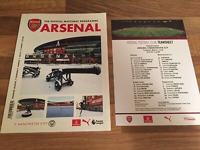 Arsenal v Manchester City Official Matchday Programme & Teamsheet 1st March 2018