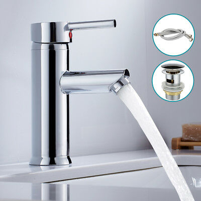 Modern Bathroom Taps Single Lever Basin Mixer Tap With Waste Unit Chrome Brass
