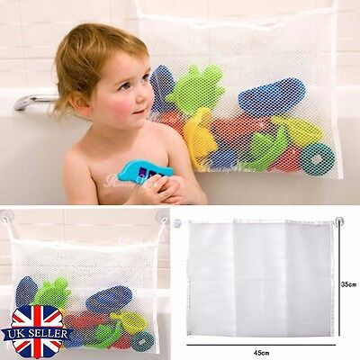 UK Kids Baby Shower Bath Toys Tidy Storage Bag Mesh Organiser Net 2 Suction Cup