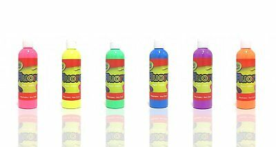 6x 250ml Artistic Fluorescent Paint Fluoro Fluro Glow Colour Kids Party Crafts