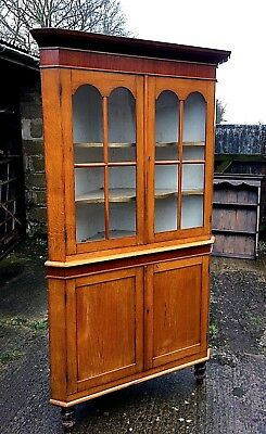 Victorian Oak and Mahogany Double Corner Cabinet