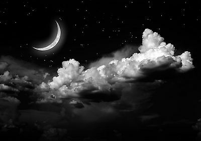 Beautiful Night Sky Moon Star Poster Wall Art Print Black & White Card or Canvas