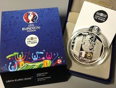 France 2016 UEFA Eurocup 10 euros Silver Proof TETE Football Europa Cup €
