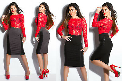 Damen High Waist Rock Leder Look Kunstleder Pencil Stretch Skirt Bleistift Optik