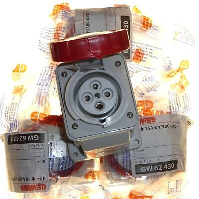 4 x 16 Amp 4 Pin IP67 Waterproof 3P+E 3 Phase Sockets 415V Red Gewiss GW62430