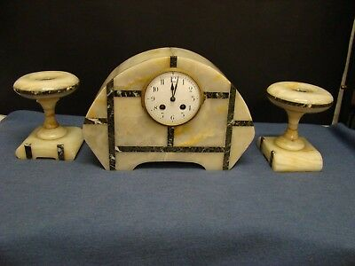 PENDULUM CLOCK ART DECO IN MARBLE - MAGNIFICO TRIPTYCH YEARS '30 Decò