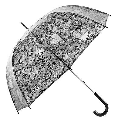 Transparent Clear Umbrellas with Lace Print Heart Roses Wedding White or Black