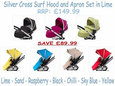 Silver Cross , Surf Hood and Apron Set - RRP: £149.99 Multi Colour Available