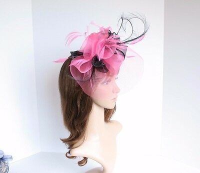 High Quality Kentucky Derby Wedding Polyester & Feather Fascinator Hot Pink 2406