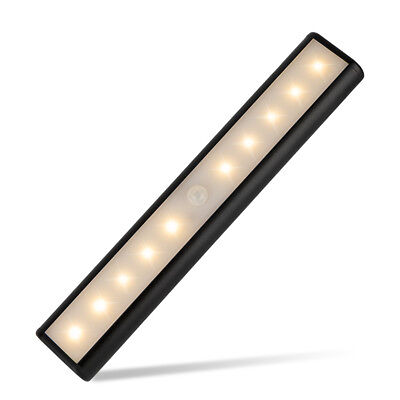 10LED Magnetic Night Light Bar Rechargeable PIR Motion Sensor Wall Wardrobe Lamp
