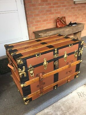 Very Large Antique Steamer Trunk Oak Leather Flat Top