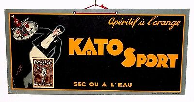 "Rare Superb Art Dèco ""KATO"" Sport"" Advertising Cardboard Sign No Enamel - 1930's"