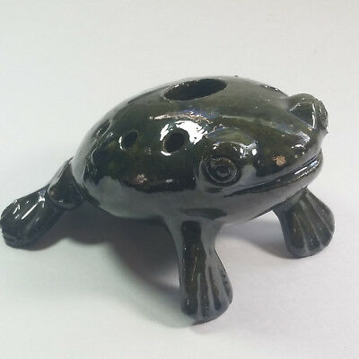 Vintage Flower Frog with Holes Decorative Clay Frog Figurine Rough Mottled