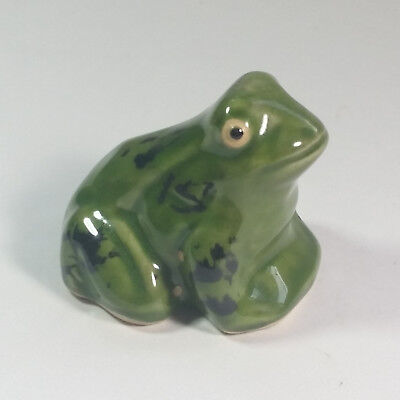 Vintage Ceramic Frog Unmarked Decorative Household Figurine with Beady Eyes