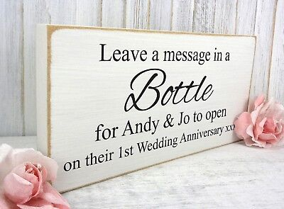 MESSAGE IN A Bottle Wedding Sign Personalised Plaque Vintage Shabby ...
