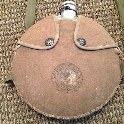 Vintage Old Boy Scout Canteen Wool Cover Metal Stopper Rare