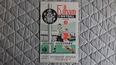 Fulham V Tottenham First Division Match Programme March 1951
