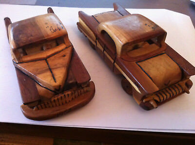 SET OF 2 HAND CRAFTED WOODEN MODEL CARS Vintage Collectable Model Car Scale 1:24