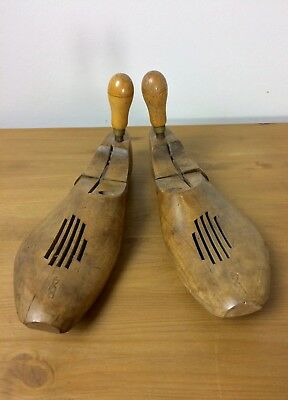 Vintage pair of ladies double hinged wooden shoe stretcher lasts