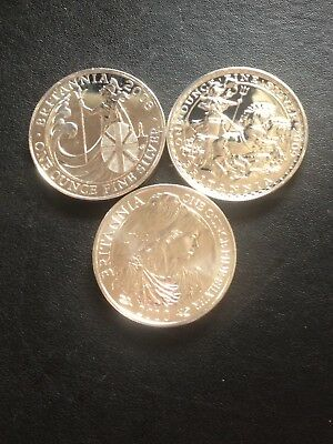 3 x 1 oz UK Silver Britannia Mixed Dates. 2008, 2009, 2010.