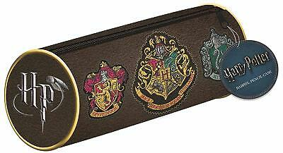 Harry Potter Barrel Pencil Case Official Stationery Hogwarts School House Crest