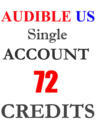 NEW Audible ACCOUNT with 72 credits prefilled for US region