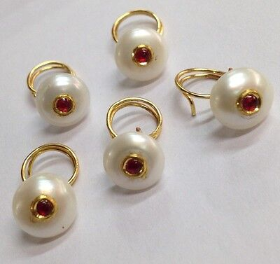 VINTAGE PEARL-GOLD -SILVER-RUBY- KUNDAN WORK BUTTON SET- 5 Pic