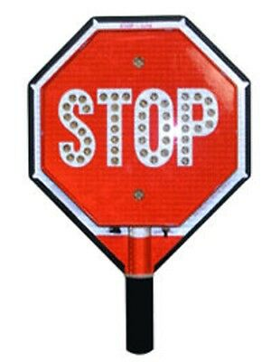 "Traffic Safety 12"" STOP/STOP LED Handheld Sign, Fire Police, Crossing Guard"