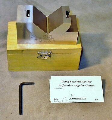 Machinist-Tool Maker Adjustable 0 to 60 Degree Angular Gauge-V Block-New in Box