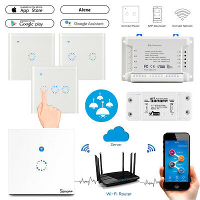 Sonoff 1 2 3 Gang Smart WiFi EU UK Plug Panel RF Touch Switch Wall Control Light