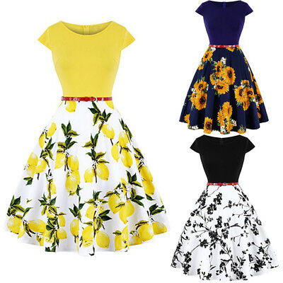 6aa133a47 Floral/Lemon Vintage 50s 60s Retro Rockabilly Pinup Housewife Party Swing  Dress