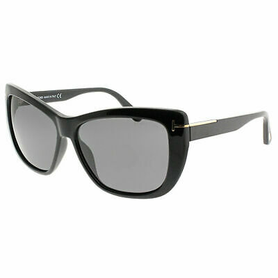 ae5e20b5f2d Tom Ford Lindsay TF 0434 01D Shiny Black Plastic Sunglasses Grey Polarized  Lens