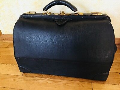 EARLY 1900 ANTIQ REAL BLK COWHIDE LEATHER PHYSICAN DOCTORS MEDICAL BAG CASE Xl