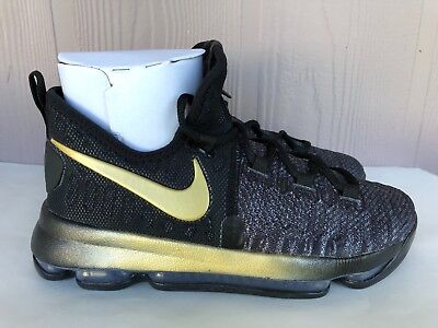0f88872785a Nike Zoom KD9 GS Youth BG Kevin Durant Black Gold Basketball Size 6Y 855908 -007
